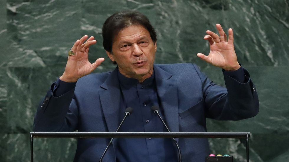Pakistan Prime Minister Imran Khan at UNGA in New York on Friday night. (Reuters photo)