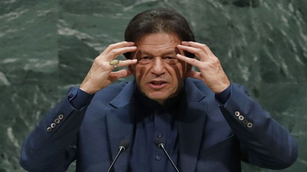 Prime Minister Imran Khan at UNGA in New York on Friday. (Reuters)