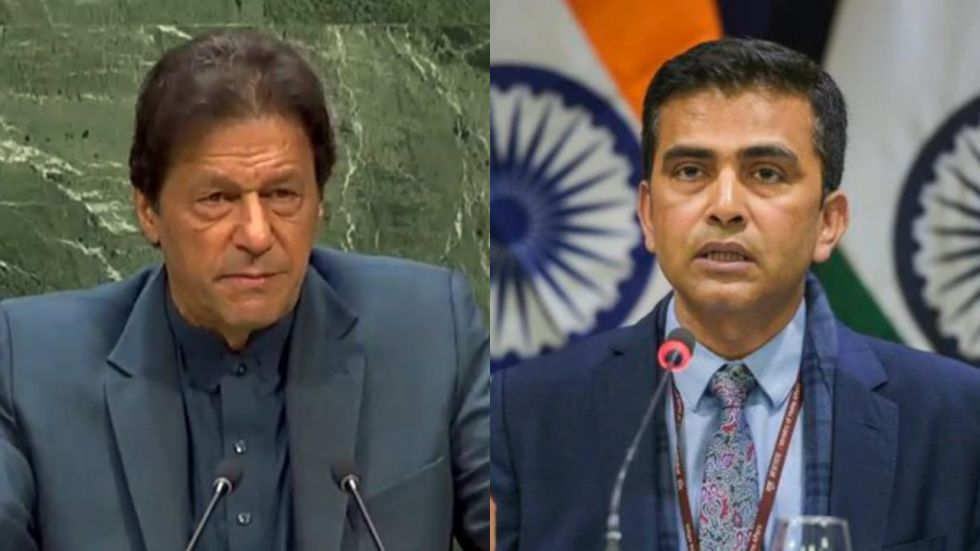 After Imran Khan's speech at UNGA, India hit back at Pakistan exposing it using Khan's own words (Image: PTI/@MEAIndia)