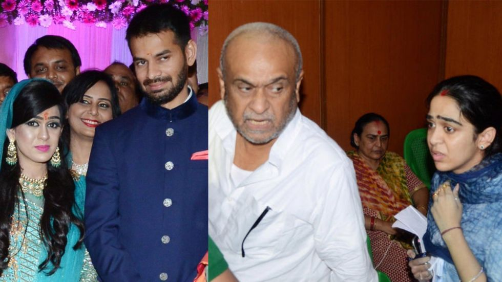 Tej Pratap and Aishwarya during their Sagai in 2018 (left) and Aishwarya with father Chandrika Rai on Sunday (Image: PTI)
