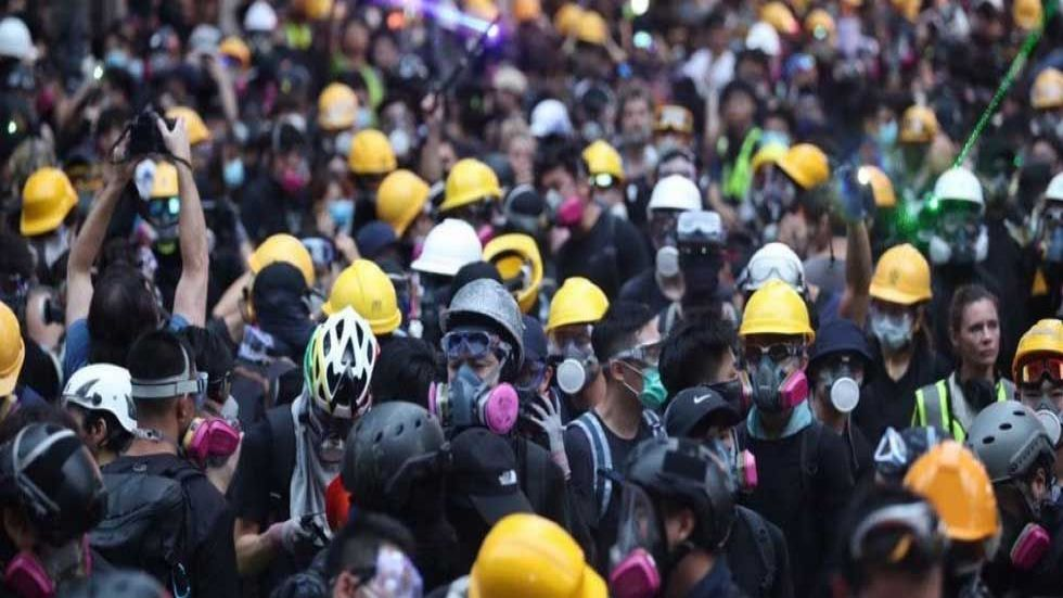 Thousands marched through the streets of Hong Kong island. (Photo: Twitter/@HongKongFP)