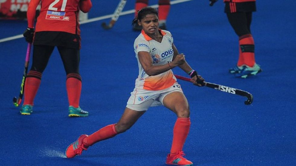 Neha Goyal scored the only goal for India but Great Britain managed to level the five-match series 1-1 with one more match to play. (Image credit: Twitter)