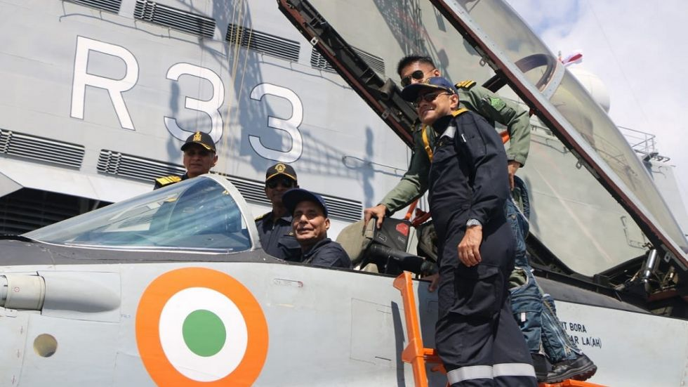 Union Defence Minister Rajnath Singh on 'Mig-29K' during his day at Sea on INS Vikramaditya.