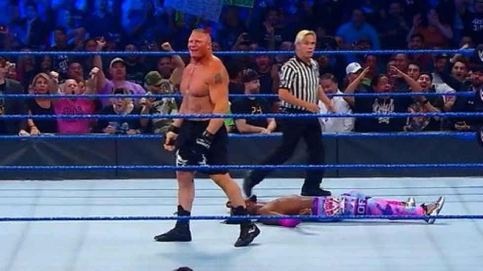 Brock Lesnar won the WWE Championship against Kofi Kingston but was attacked by MMA heavyweight Cain Velasquez.