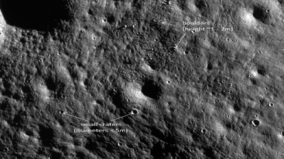 The ISRO said the image also shows boulders and small craters on the moon.