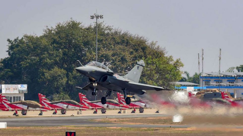 Defence Minister Rajnath Singh will receive the first Rafale jet at an air base in Paris on Tuesday