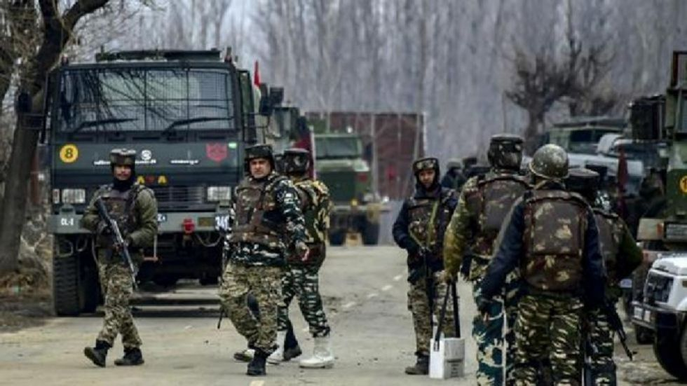 The gun battle broke out between militants and security forces on the outskirts of Awantipora.
