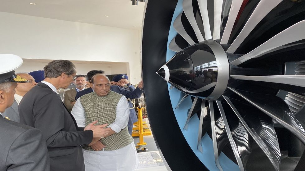 Defence Minister Rajnath Singh visits the Engine Manufacturing Facility of Safran at Villaroche near Paris on Wednesday