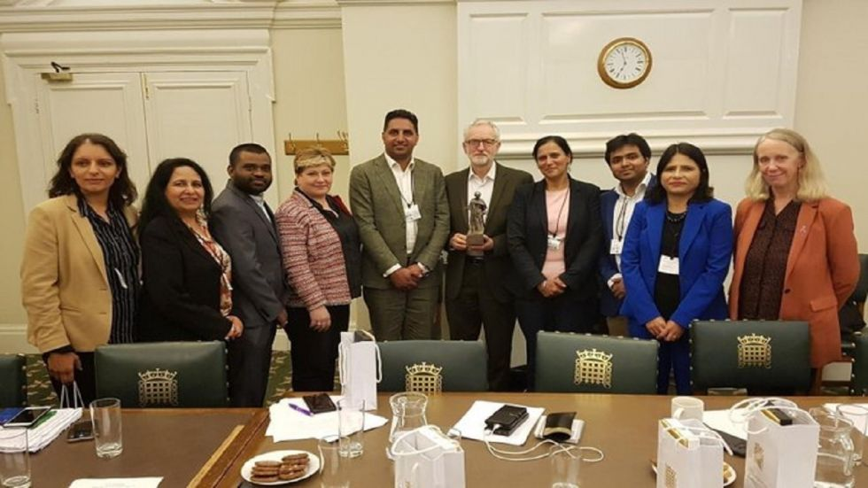 British Labour Party leader Jeremy Corbyn meets UK representatives from the Indian Overseas Congress.