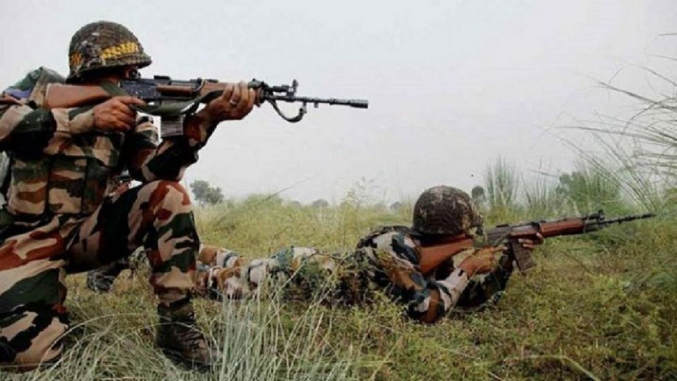 Two soldiers and a civilian were killed as Pakistani troops violated the ceasefire in Tangdhar sector of Jammu and Kashmir's Kupwara district on Sunday.