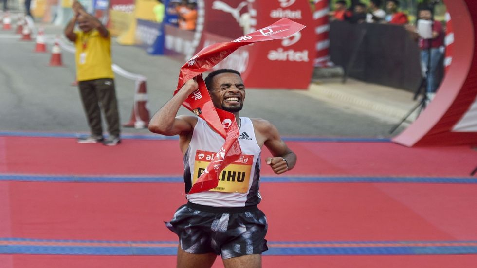 Ethiopia's Belihu clocked a timing of 59:10 to defend his title at the Jawaharlal Nehru stadium, while Gemechu broke her event record and also produced her personal best with an impressive 66:00