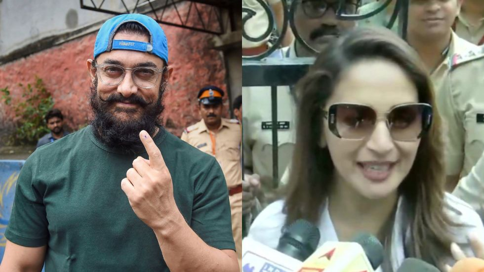 Aamir Khan And Madhuri Dixit Step Out To Vote.