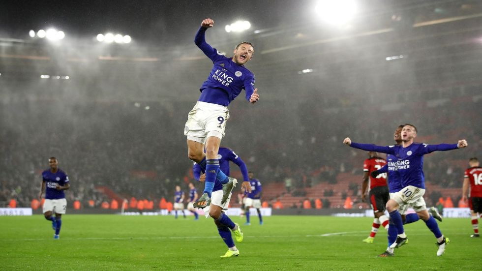 Jamie Vardy and Ayoze Perez scored hat-tricks as Leicester City equalled the biggest win in the history of the Premier League with a 9-0 win against Southampton.