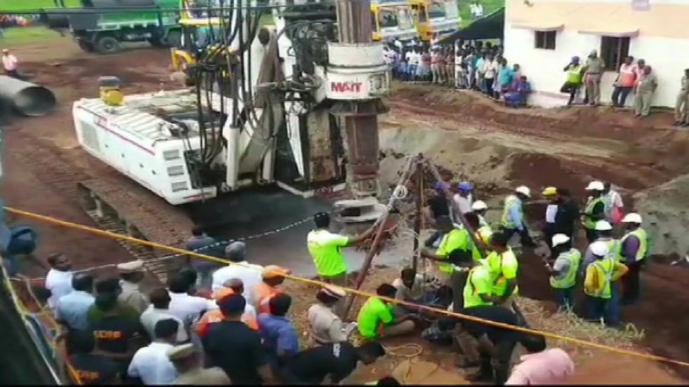 Boring machine has reached the spot where rescue operations are underway to pull out a three-year-old boy who fell into an abandoned borewell.