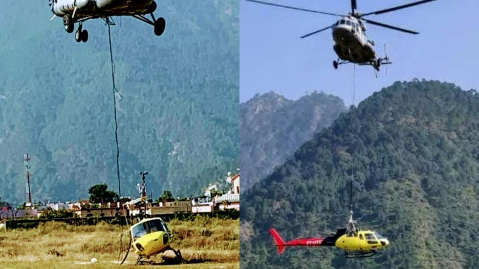 IAF helicopters evacuate crashed aircraft from Kedarnath.