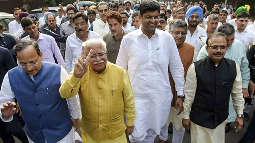 ML Khattar, Dushyant Chautala and other BJP leader met the governor on Saturday