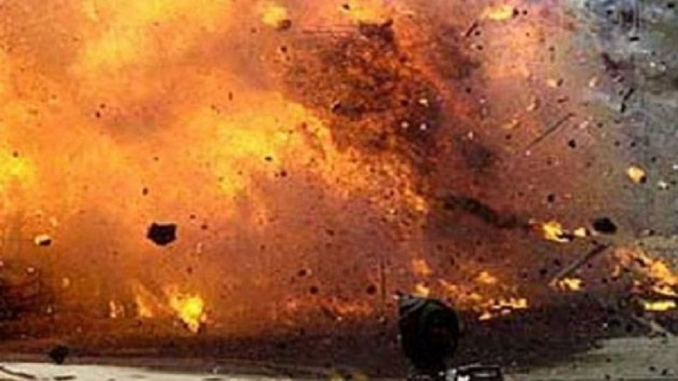 The miscreants hurled crude bombs at five places in the town and fled on Saturday evening.