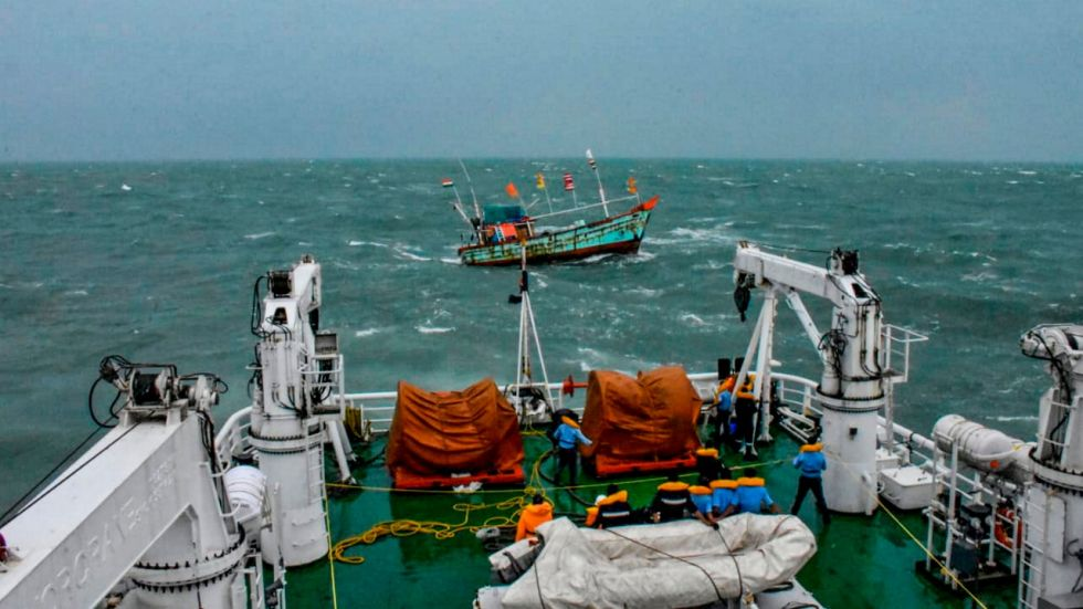 """Indian Coast Guard has stepped up efforts for search and rescue of fishermen stranded in the wake of Cyclone """"Kyarr"""""""