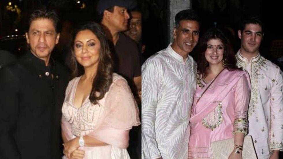 Shah Rukh Khan and Akshay Kumar arrive at Big B's Diwali bash.