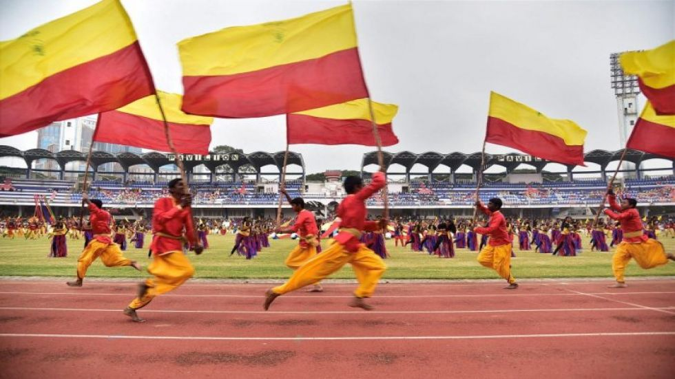 Karnataka stage flag features prominently in the Kannada Rajyotsava celebrations
