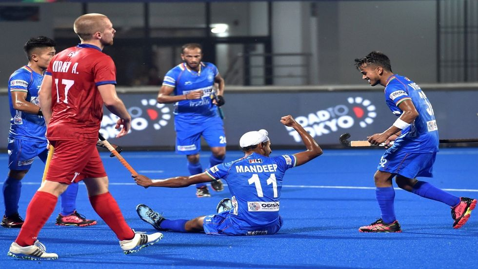 Mandeep Singh scored twice but Russia put up a solid fight as India won 4-2 in the Olympic Hockey qualifiers.