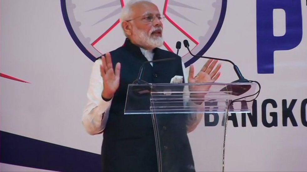 Prime Minister Narendra Modi addresses Indian diaspora in Bangkok.