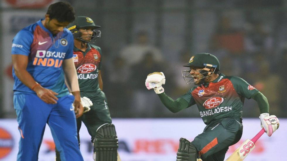 Mushfiqur Rahim's knock of 60 helped Bangladesh win for the first time against India in Twenty20 Internationals.