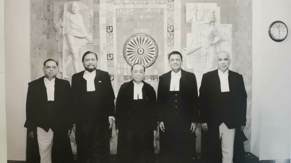 The five-judge Supreme Court bench which delivered the Ayodhya Judgment. (From Left to Right): Justice Ashok Bhushan, Justice SA Bobde, Chief Justice of India Ranjan Gogoi, Justice DY Chandrachud and Justice S Abdul Nazeer.