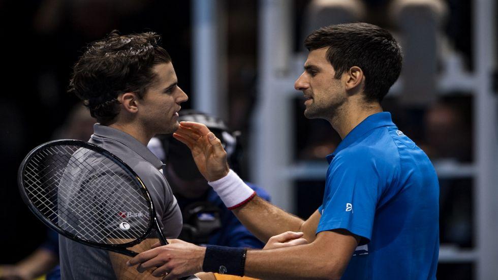 Novak Djokovic lost 6-7 (5/7), 6-3, 7-6 (7/5) to Dominic Thiem in the ATP Finals in London.