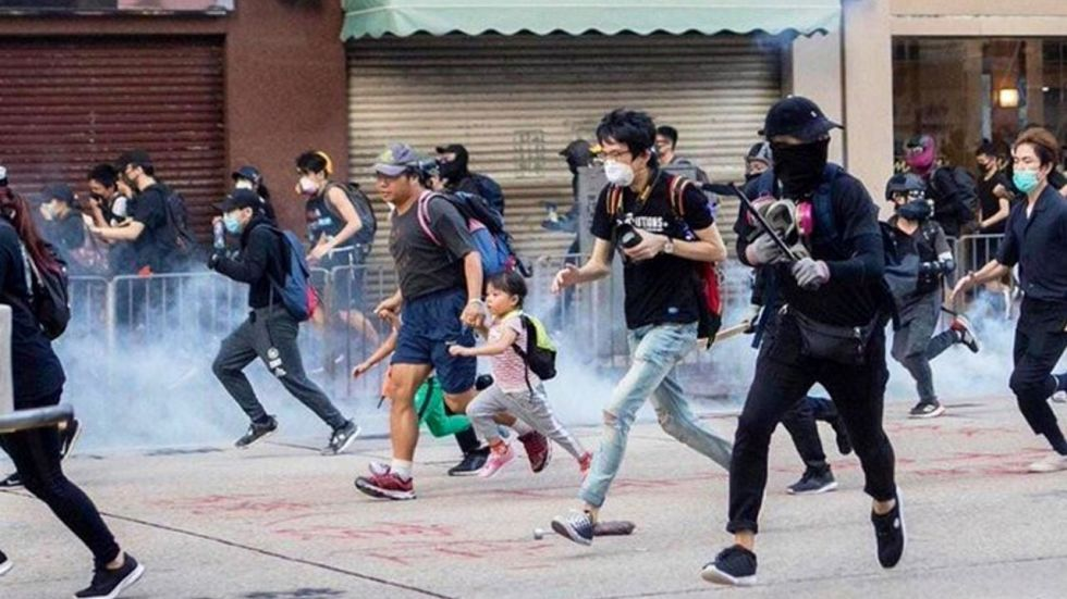 A soldier said their action had nothing to do with the Hong Kong government.