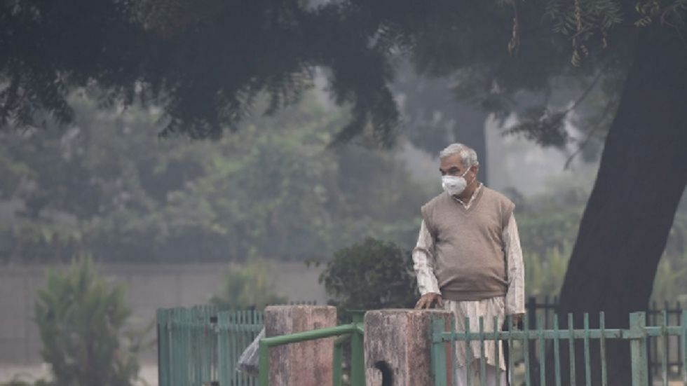 The air quality in the national capital on Sunday improved and stood in the