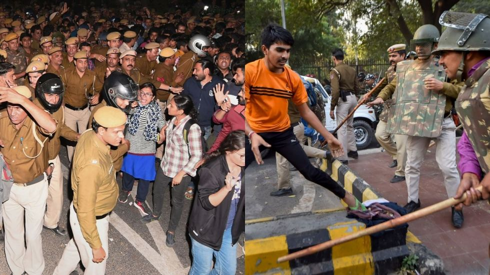 Students took to Twitter to share pictures of the march and of injuries they received allegedly in a lathicharge by police.