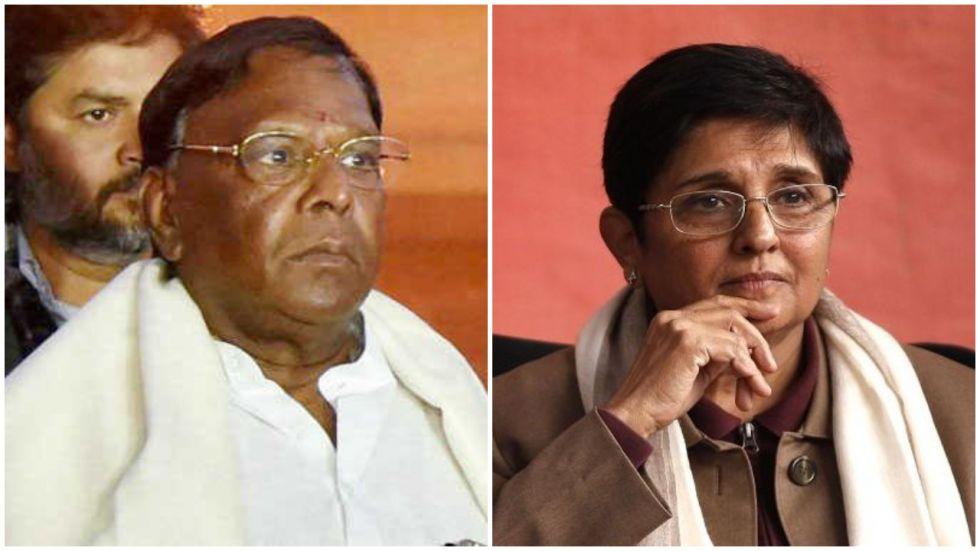 Puducherry Governor Kiran Bedi and Chief Minister V Narayanasamy