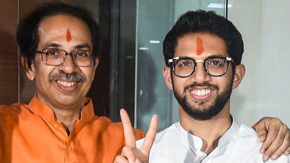 Shiv Sena chief Uddhav Thakeray and his son Aaditya Thackeray.