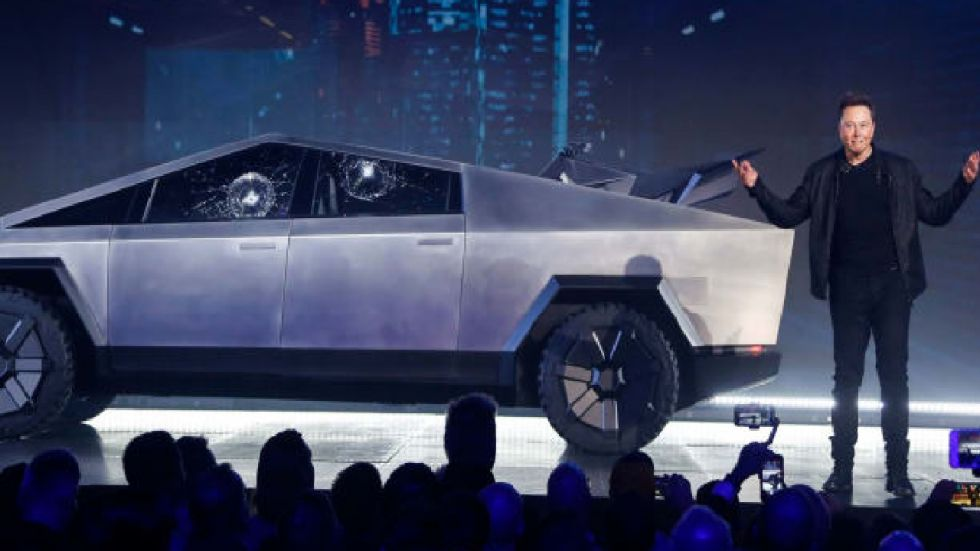 The industrial-looking Cybertruck is covered in the same steel alloy Musk plans to use for his SpaceX Starship rocket.