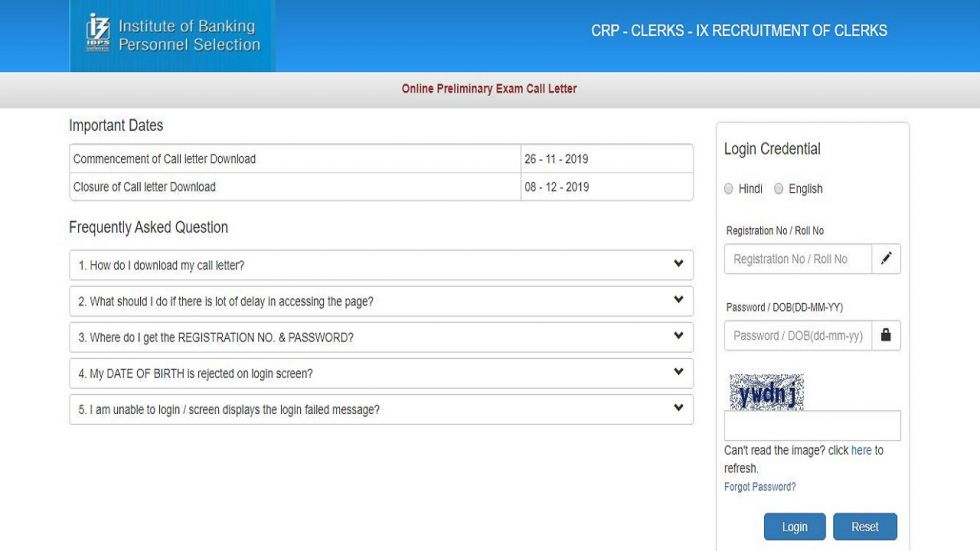 IBPS Clerk 2019 Prelims Admit Card Released, Download At ibps.in