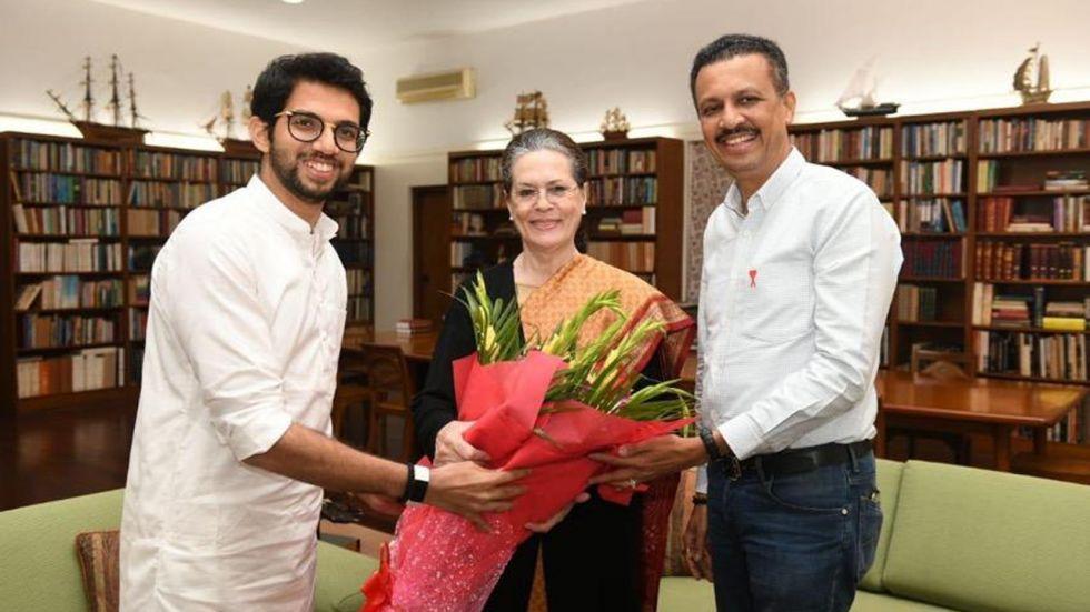 Shiv Sena leader Aaditya Thackeray with Congress interim president Sonia Gandhi