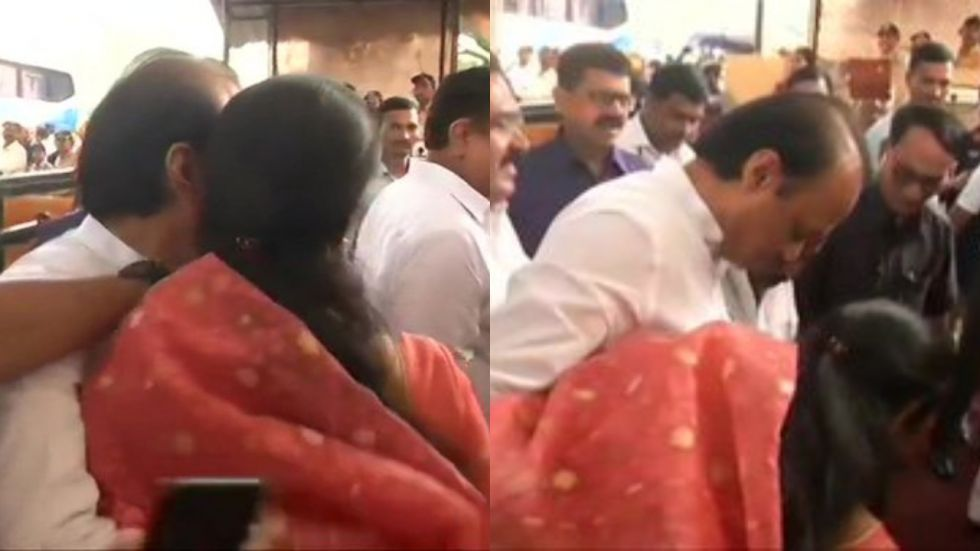 The warm hug, which was captured by numerous media persons, showcased that all was well within the Pawar family.