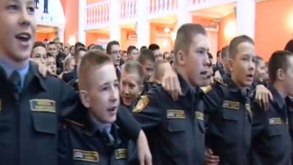 "Russian Military Cadets Singing Indian Patriotic Song ""Aye Watan, Aye Watan"" in Moscow"
