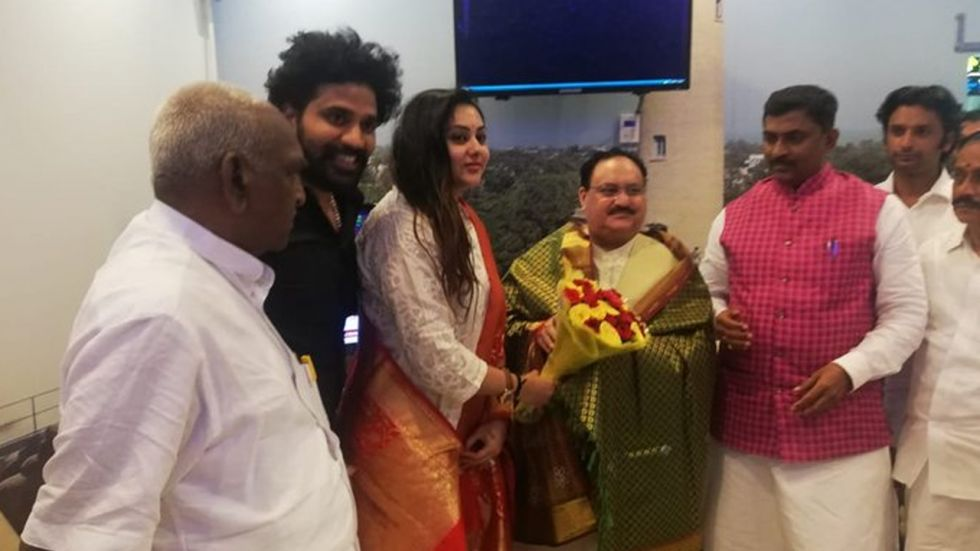 Tamil Actress Namitha Joins BJP In Presence Of Party Working President JP Nadda