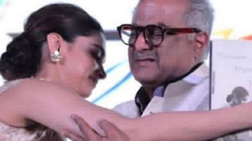 Deepika Padukone Hugs Boney Kapoor At Sridevi Biography Launch.