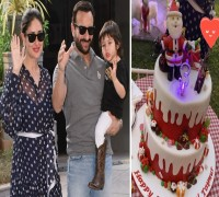 WATCH: Taimur Aims For Santa Claus As He Gets To Cut Christmas Themed Cake On 3rd Birthday