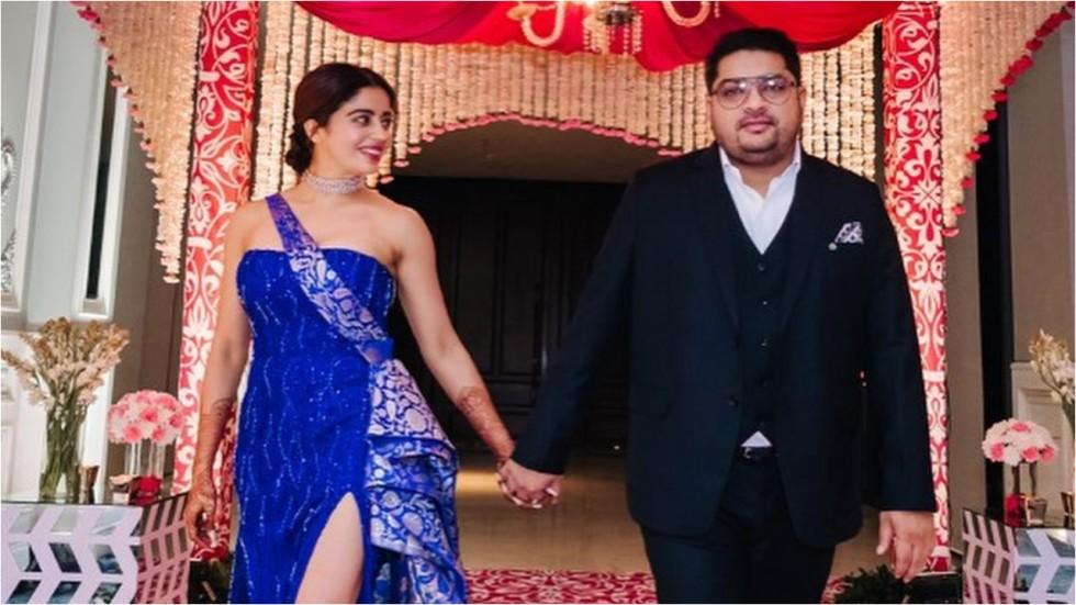Nehha Pendse and Shardul Singh Bayas at wedding reception.