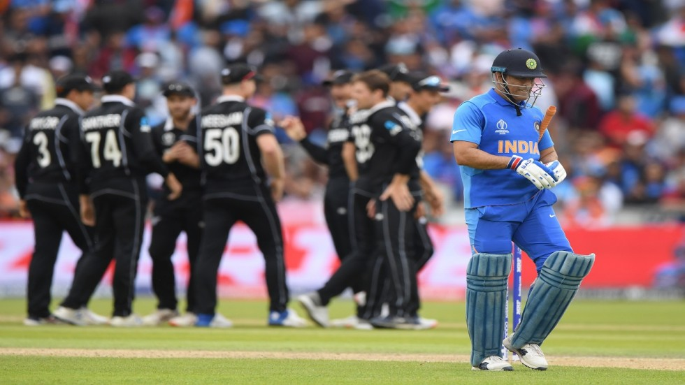 MS Dhoni's run-out on 50 ended India's hopes as they lost the semi-final of the ICC Cricket World Cup clash to New Zealand by 18 runs.