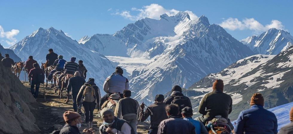 File photo of Amarnath Yatris in Jammu and Kashmir.