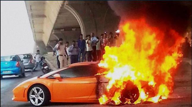 When Lamborghini caught in flames on Delhi road