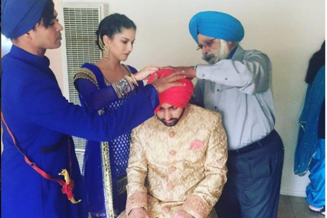 Sunny Leone looks stunning in Indian attire at her brother's wedding