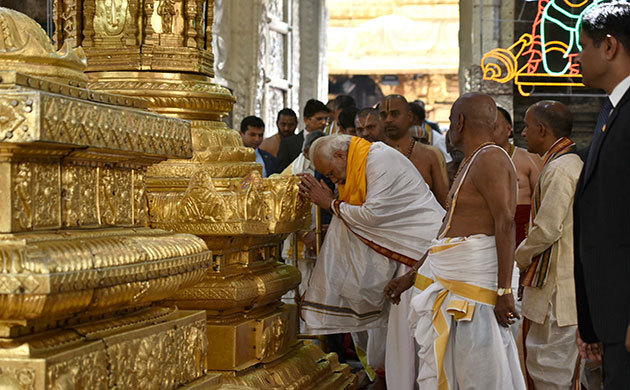 PM Narendra Modi offers prayers at Lord Venkateshwara temple in Tirupati