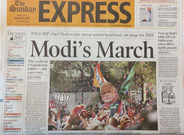 In Pics How Newspapers reported BJP's landslide victory in UP Ukhand Polls