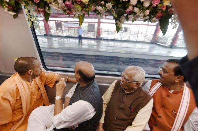 Rajnath Singh Yogi Adityanath flag off Lucknow Metro See in pics